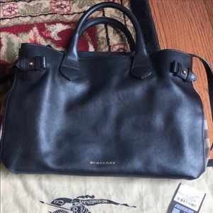 EUC Burberry Medium Banner Housecheck Bag Black